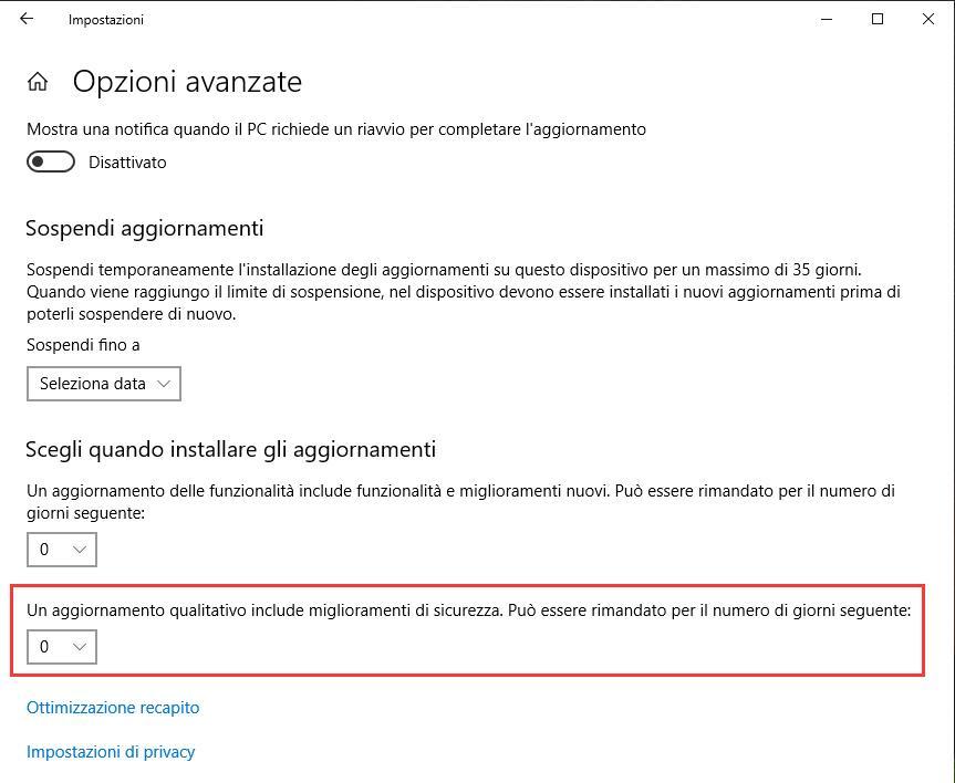 Aggiornamenti automatici su Windows 10