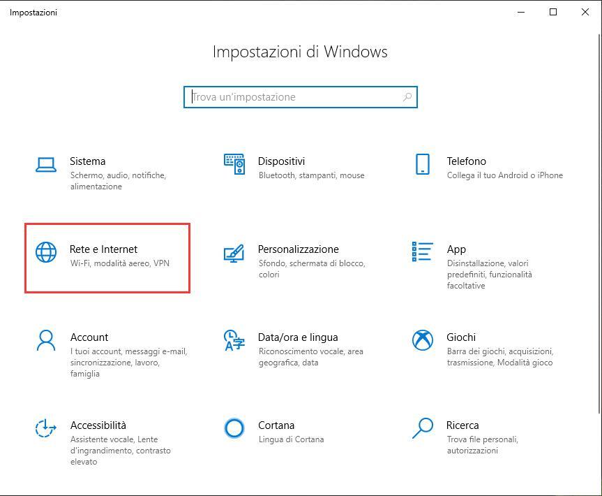 Creare VPN con Windows 10