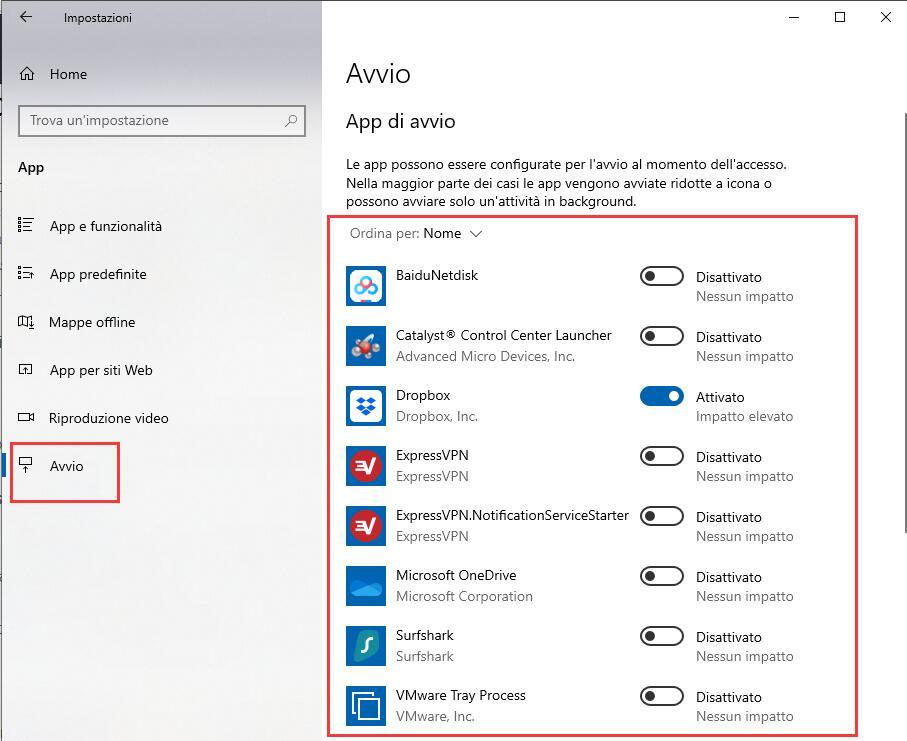 programmi all'avvio in Windows 10