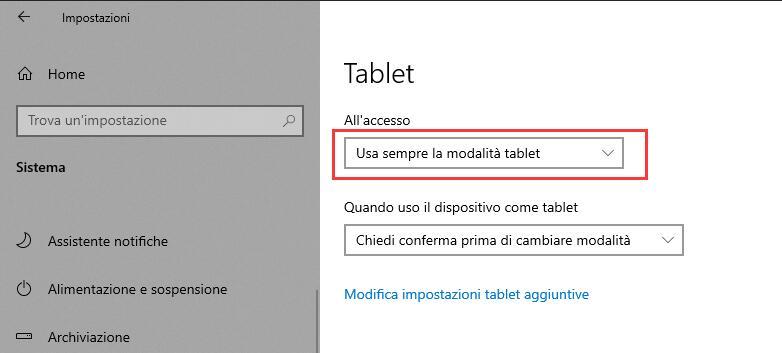 Usa sempre la modalità tablet