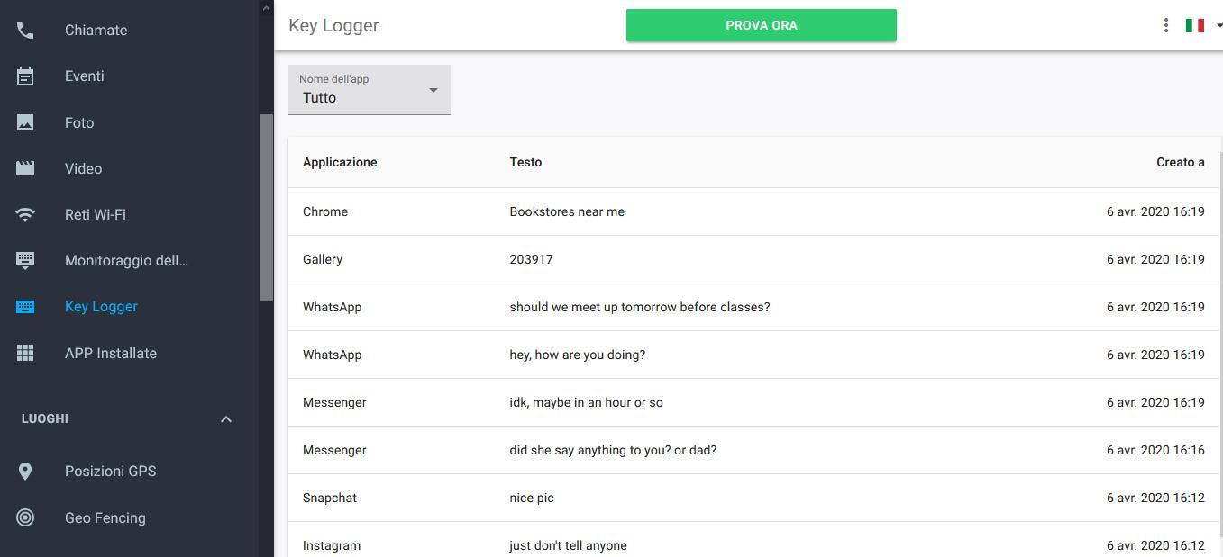 Keylogger di tipo software