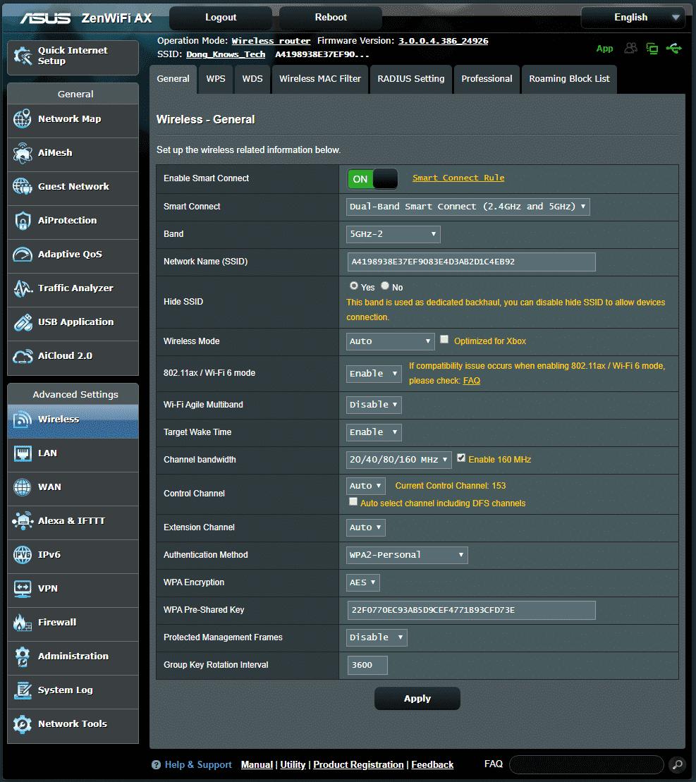 L'interfaccia utente web di un router Asus.