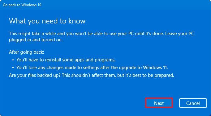 Disinstallare Windows 11